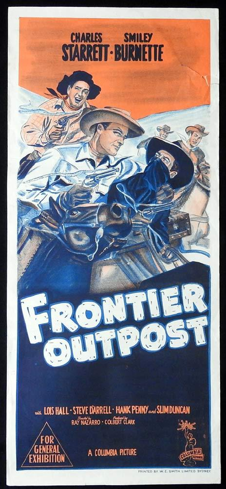 FRONTIER OUTPOST Original Daybill Movie Poster Charles Starrett Durango Kid