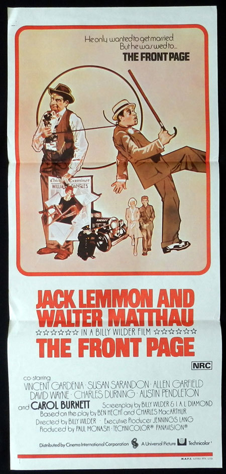 THE FRONT PAGE Original Daybill Movie poster Walter Matthau Jack Lemmon Billy Wilder