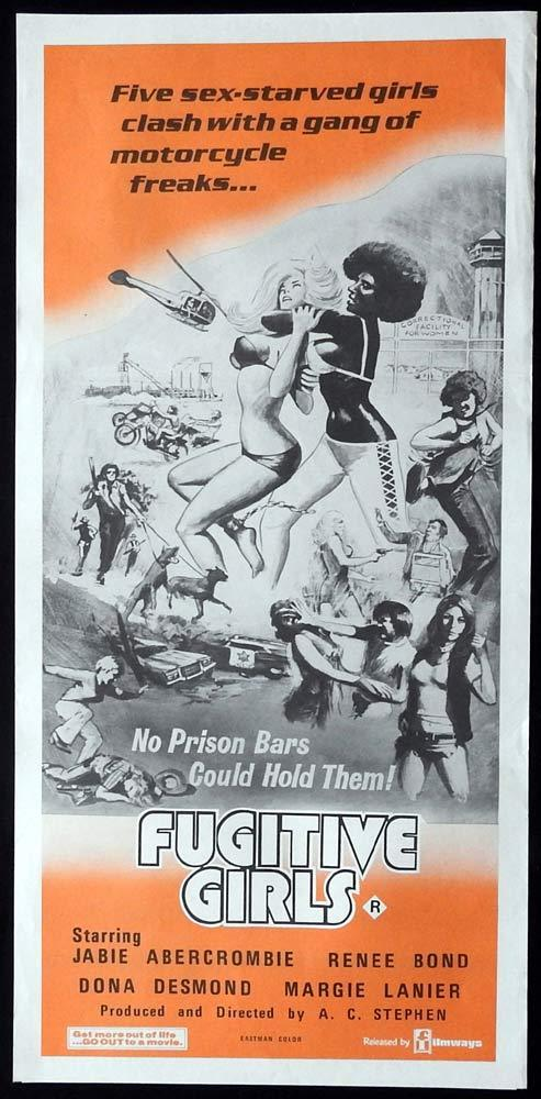 FUGITIVE GIRLS Original Daybill Movie Poster Jabie Abercrombe Rene Bond