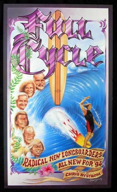 FULL CYCLE Longboard RARE ORIGINAL SURFING poster
