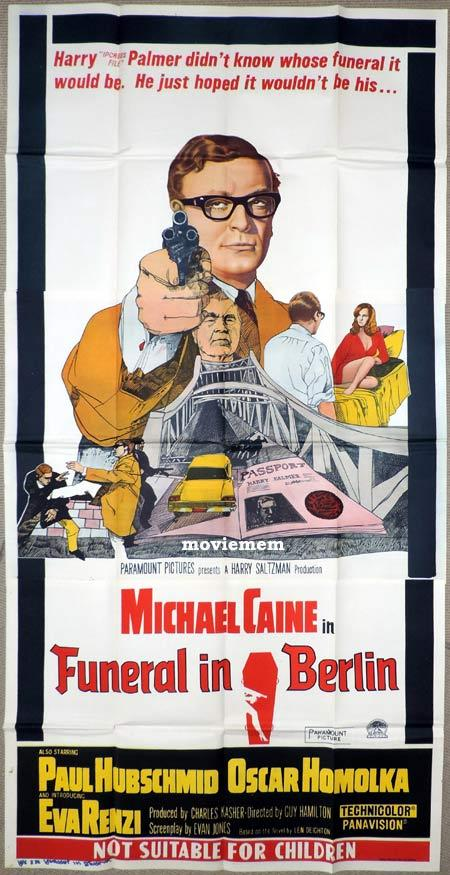 FUNERAL IN BERLIN Original 3 Sheet Movie Poster Michael Caine as Harry Palmer