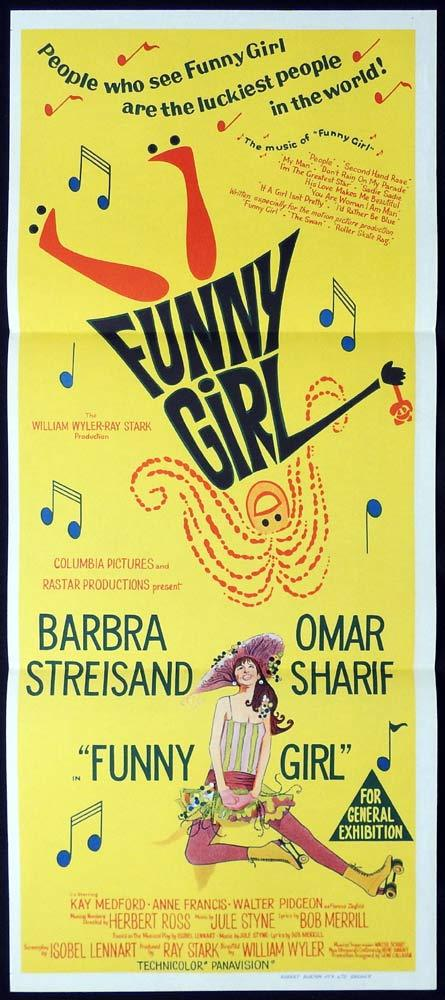 FUNNY GIRL Original Daybill Movie Poster Barbra Streisand Omar Sharif