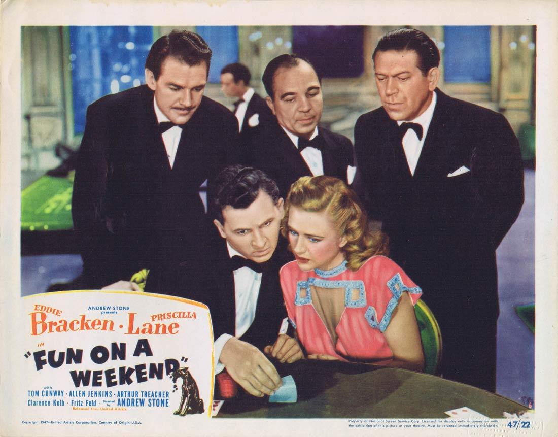 FUN ON A WEEKEND Lobby Card 6 Eddie Bracken Priscilla Lane Tom Conway 1947