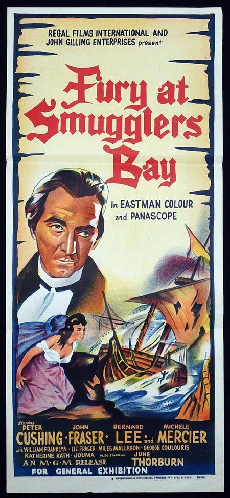 FURY AT SMUGGLER'S BAY Original Daybill Movie poster Peter Cushing Bernard Lee
