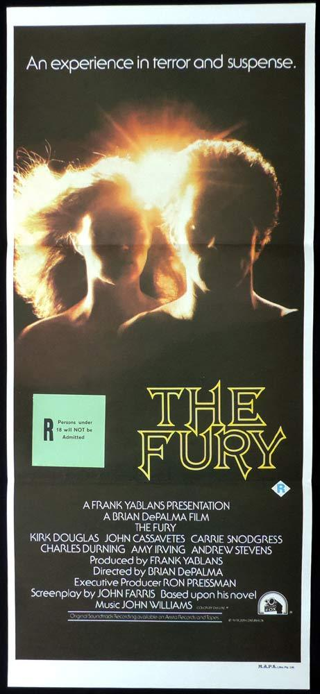 THE FURY Original Daybill Movie poster Brian De Palma Kirk Douglas HORROR