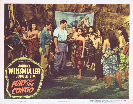 FURY OF THE CONGO 1951 Jungle Jim Johnny Weissmuller Lobby Card 3