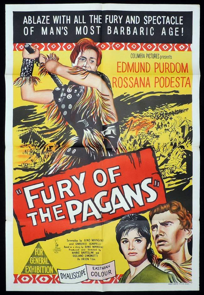 FURY OF THE PAGANS One Sheet Movie Poster Edmund Purdom Rossana Podesta