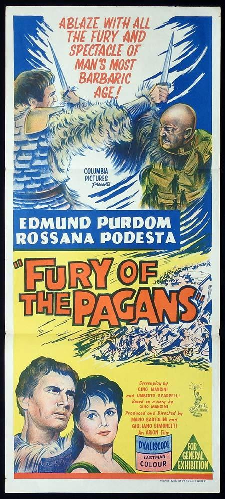 FURY OF THE PAGANS Original Daybill Movie Poster Edmund Purdom Rossana Podestà