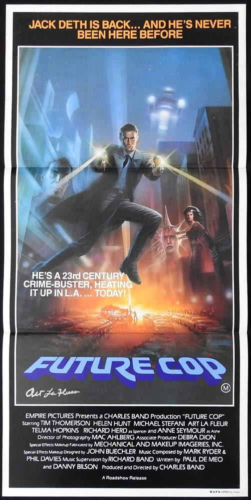 FUTURE COP Original Daybill Movie poster ART LA FLEUR Autograph
