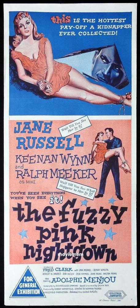 THE FUZZY PINK NIGHTGOWN Daybill Movie Poster Jane Russell