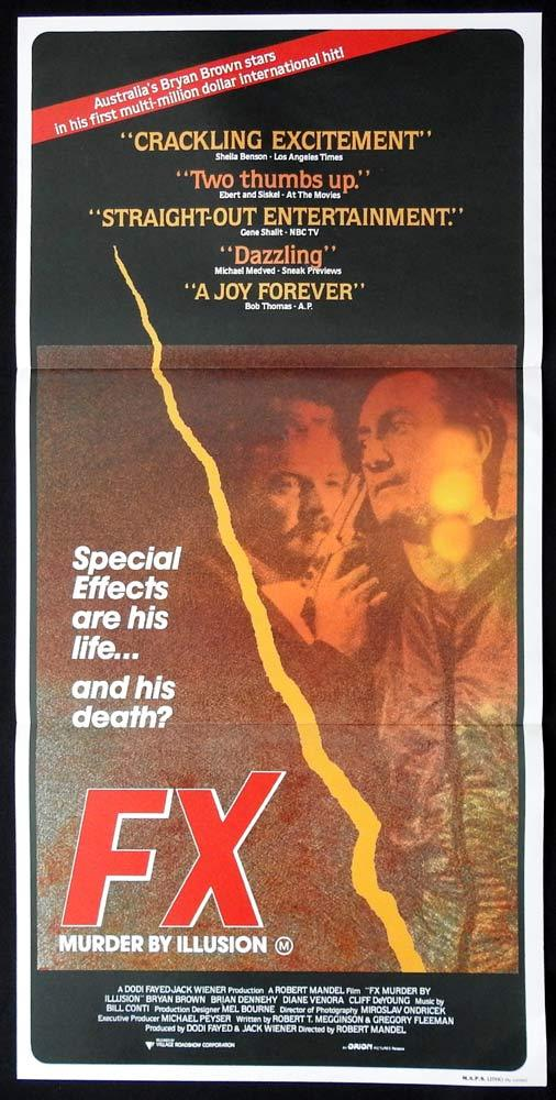 FX Original Daybill Movie poster Bryan Brown Brian Dennehy Diane Venora F/X