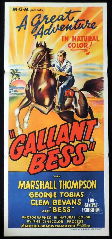 GALLANT BESS Original Daybill Movie Poster Marshall Thompson