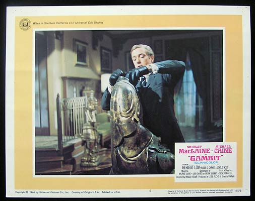 GAMBIT Lobby Card 6 1966 Michael Caine Shirley MacLaine