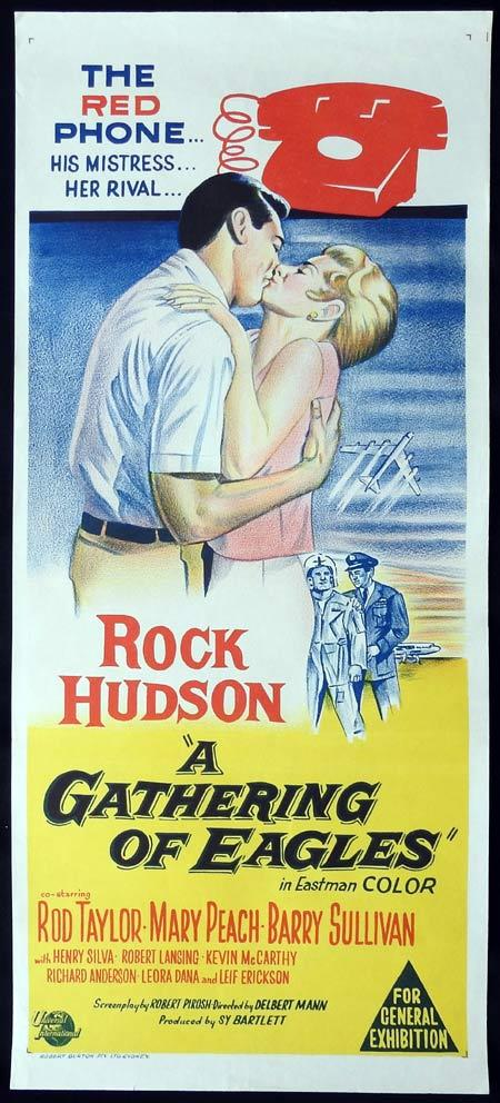 A GATHERING OF EAGLES Original Daybill Movie Poster Rock Hudson Rod Taylor