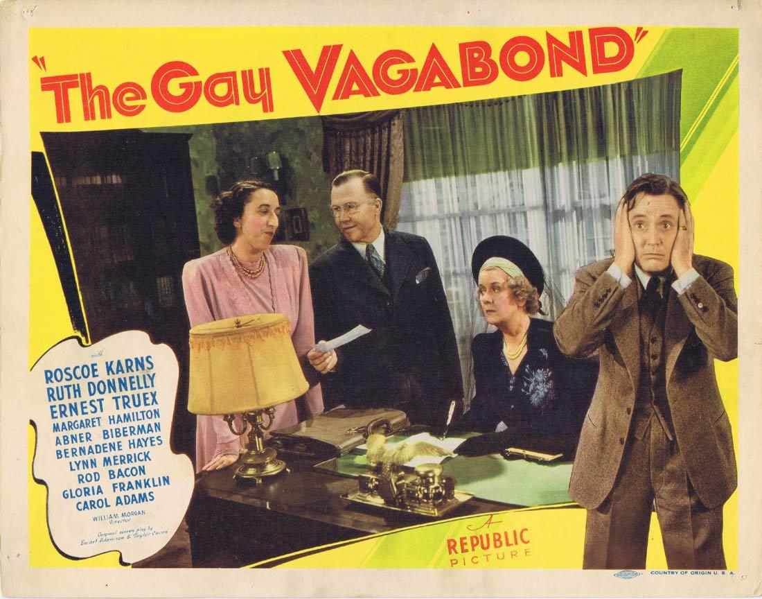 THE GAY VAGABOND Vintage Lobby Card Roscoe Karns Ruth Donnelly Ernest Truex 1941