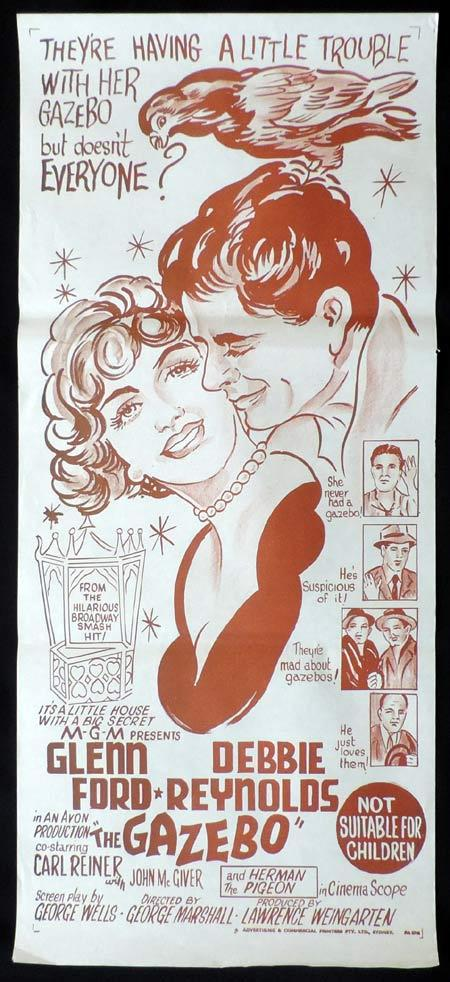 THE GAZEBO Original Daybill Movie Poster Debbie Reynolds Glenn Ford
