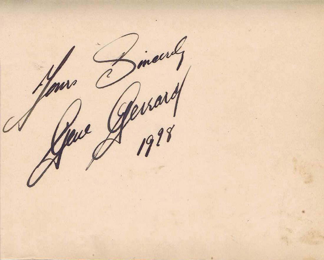 GENE GERRARD Autographed Album Page 1952