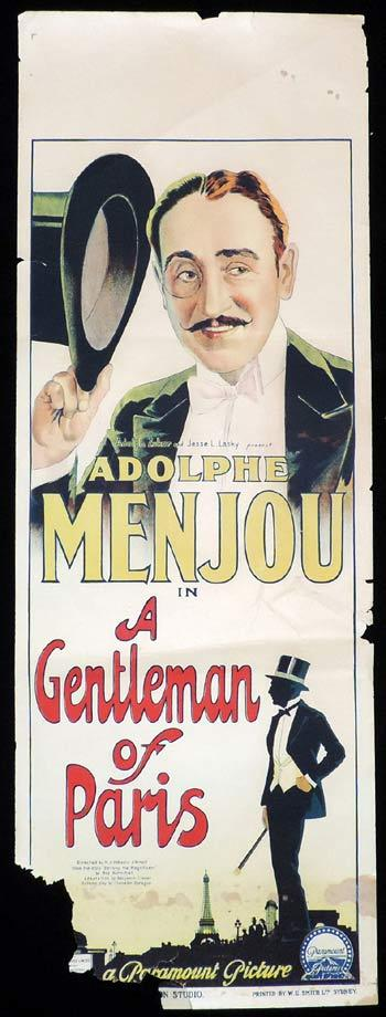 A GENTLEMAN OF PARIS Long Daybill Movie poster 1927 Richardson Studio Adophe Menjou