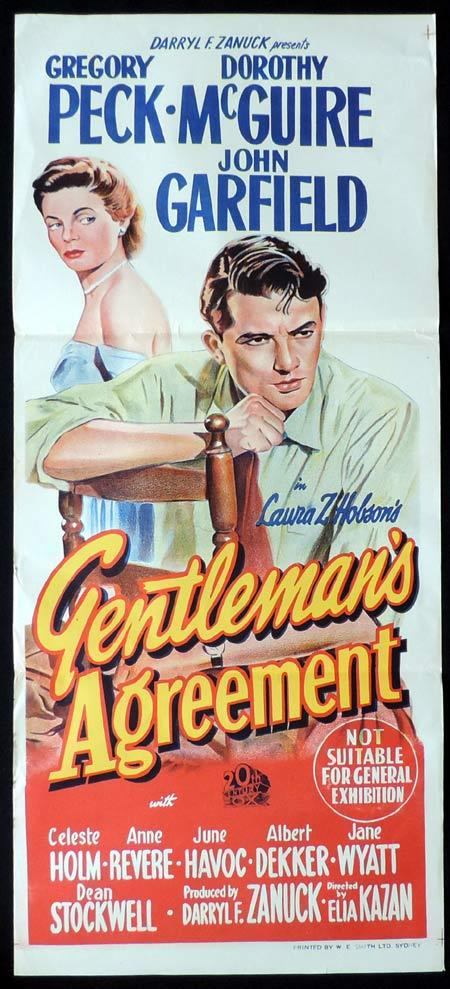 GENTLEMAN'S AGREEMENT Original Daybill Movie Poster Dorothy McGuire Gregory Peck
