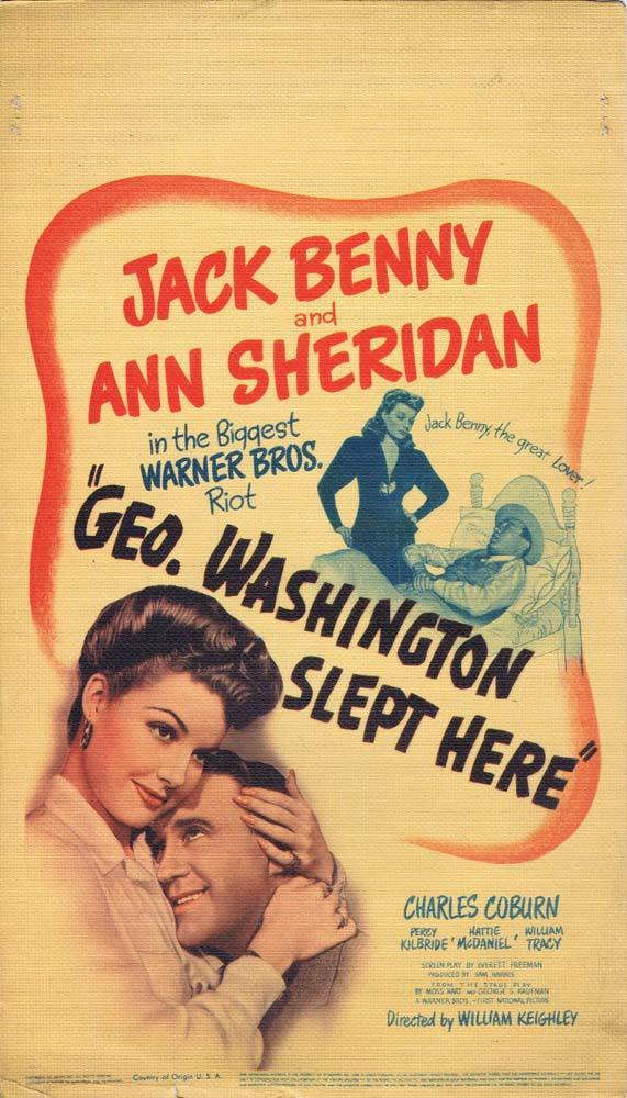 GEORGE WASHINGTON SLEPT HERE Original Mini Window Card Jack Benny 1942