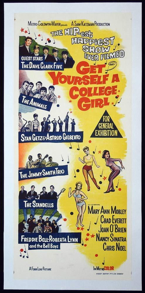 GET YOURSELF A COLLEGE GIRL Original LINEN BACKED Daybill Movie Poster