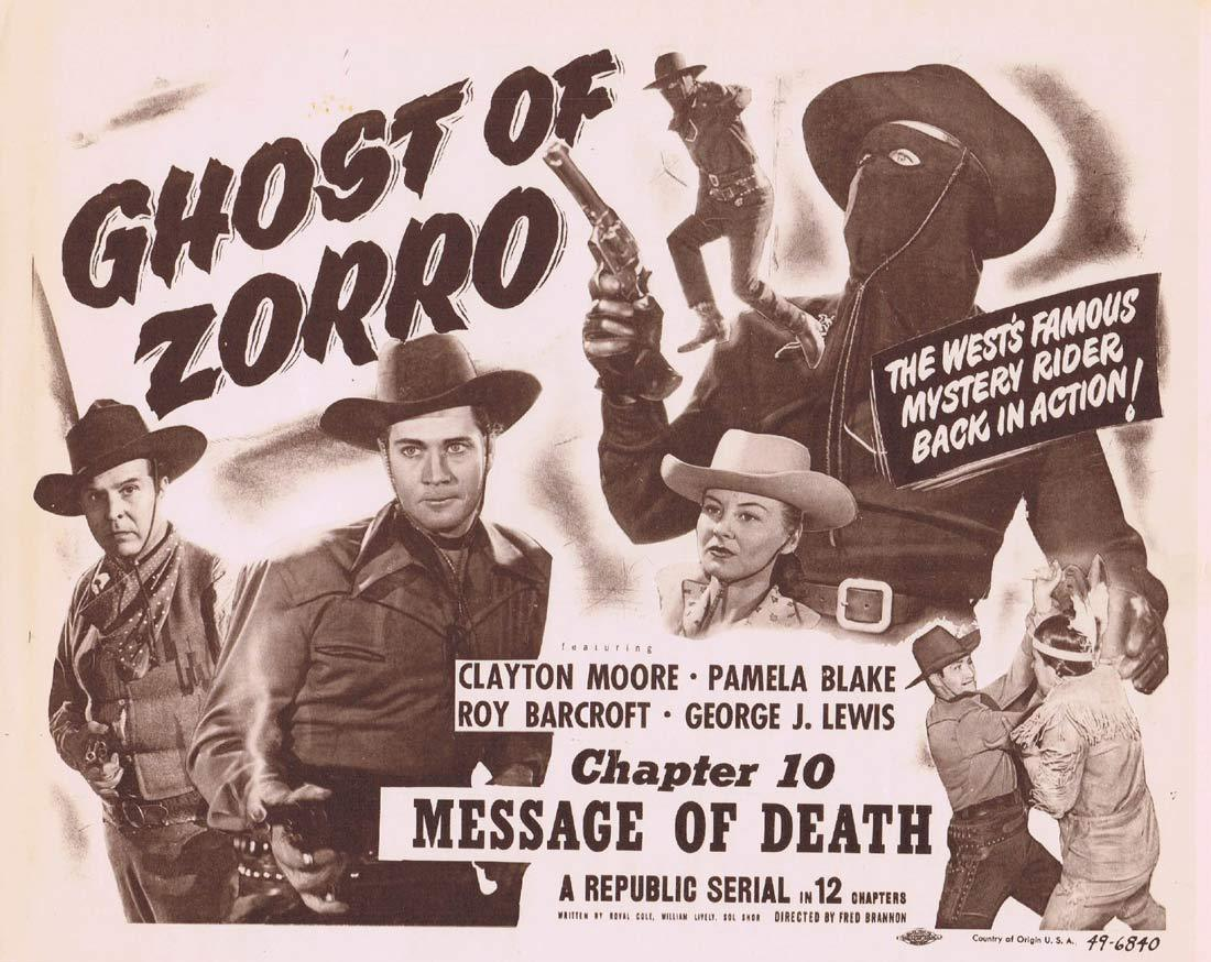 GHOST OF ZORRO Title Original Lobby Card Chapter 10 Republic Serial Clayton Moore