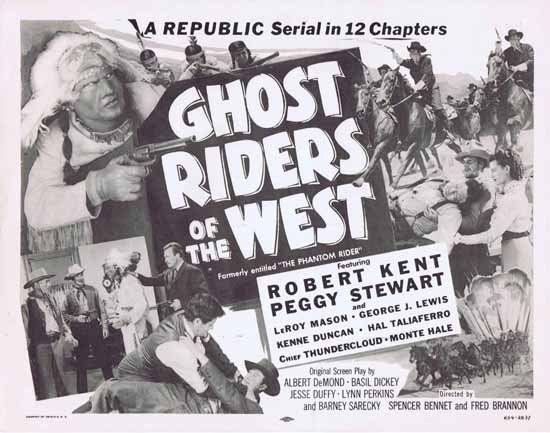 GHOST RIDERS OF THE WEST 1954r Republic Serial ORIGINAL US Title Lobby card