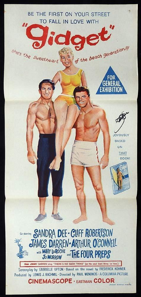 GIDGET Original Daybill Movie poster JAMES DARREN Autograph