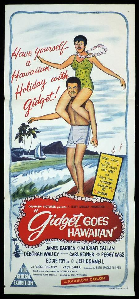 GIDGET GOES HAWAIIAN Original Daybill Movie Poster James Darren Deborah Walley