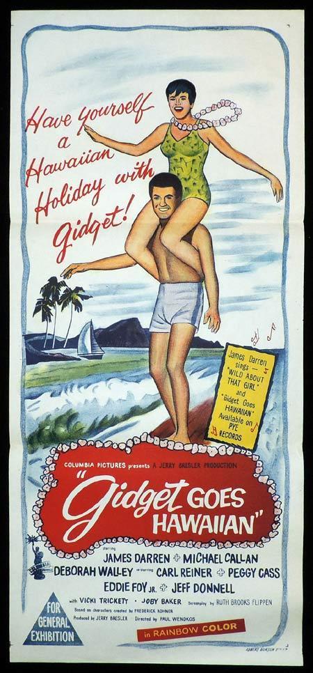 GIDGET GOES HAWAIIAN Original Daybill Movie Poster James Darren Deborah Walley