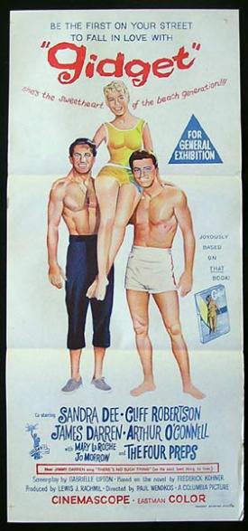 GIDGET Original Daybill Movie poster 1959 Sandra Dee SURFING CLASSIC