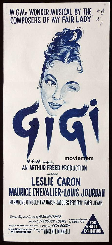 GIGI Original Daybill Movie Poster Leslie Caron Maurice Chevalier