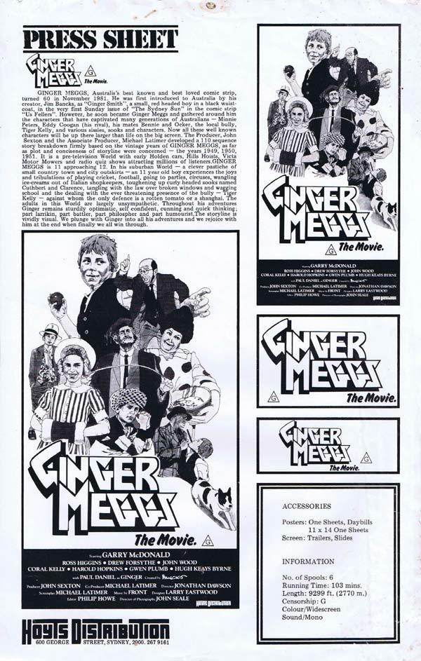 GINGER MEGGS, Gary MacDonald, AUSTRALIAN Press Sheet