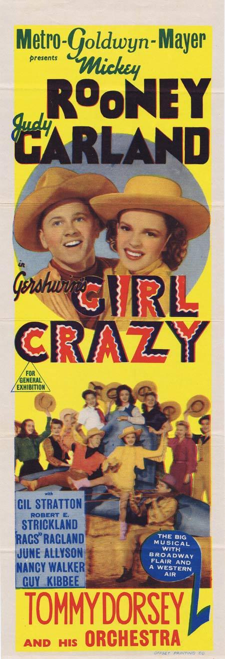 GIRL CRAZY Original Daybill Movie Poster JUDY GARLAND Mickey Rooney