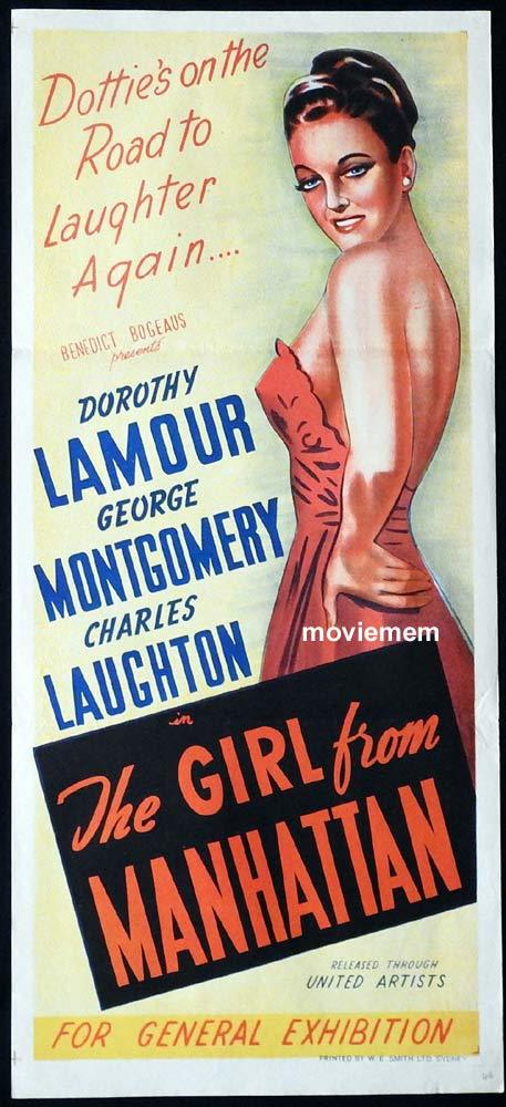 THE GIRL FROM MANHATTAN Original Daybill Movie Poster Dorothy Lamour