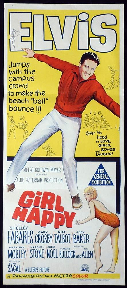 GIRL HAPPY Original Daybill Movie poster Elvis Presley
