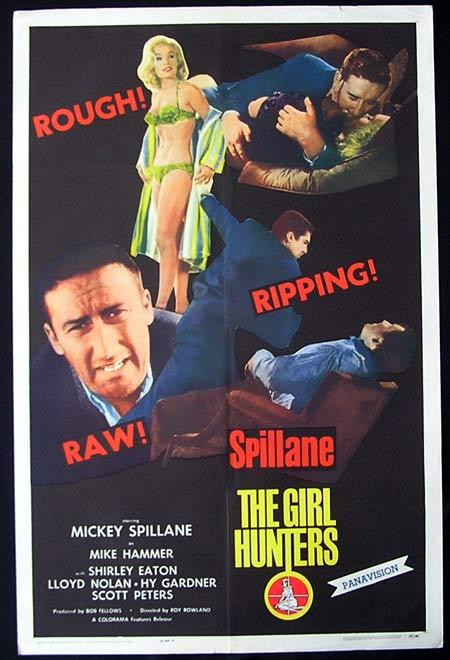 THE GIRL HUNTERS Original One sheet Movie poster Mickey Spillane Film Nir
