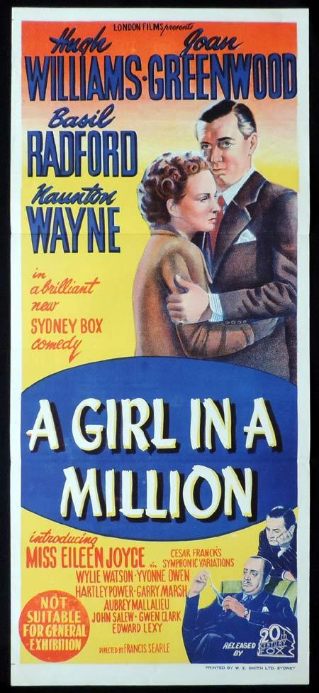 A GIRL IN A MILLION Original Daybill Movie Poster Joan Greenwood Hugh Williams