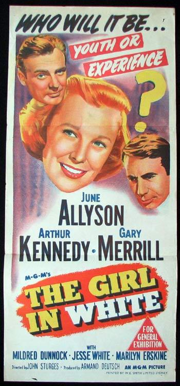 THE GIRL IN WHITE Daybill Movie poster June Allyson