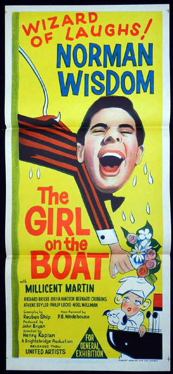 GIRL ON THE BOAT Movie Poster 1962 Norman Wisdom Australian Daybill