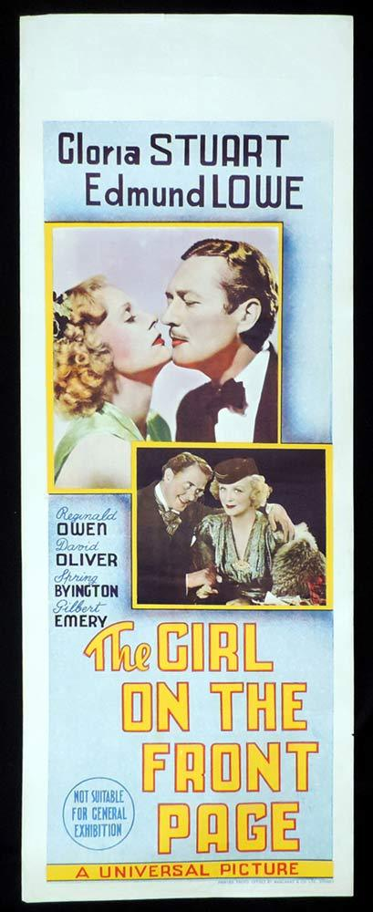 GIRL ON THE FRONT PAGE Original Daybill Movie Poster Edmound Lowe 1936