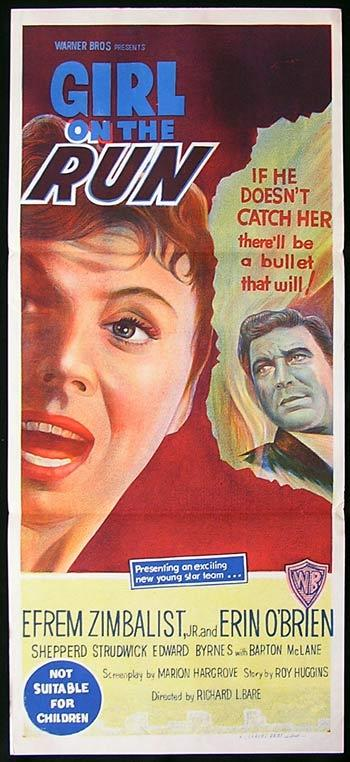 GIRL ON THE RUN daybill Movie poster Efram Zimbalist Film Noir