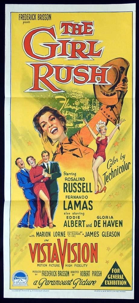THE GIRL RUSH Original Daybill Movie poster Rosalind Russell Fernando Lamas
