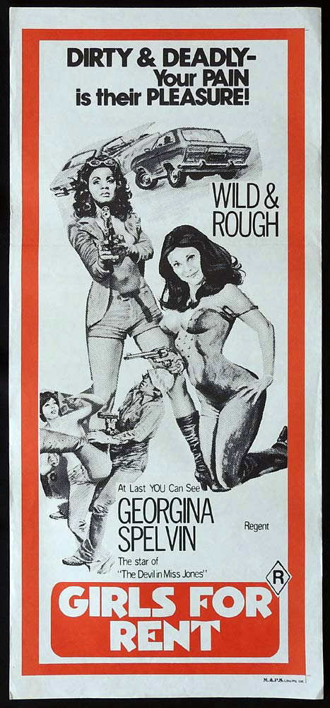GIRLS FOR RENT Original Daybill Movie Poster Georgina Spelvin Sexploitation