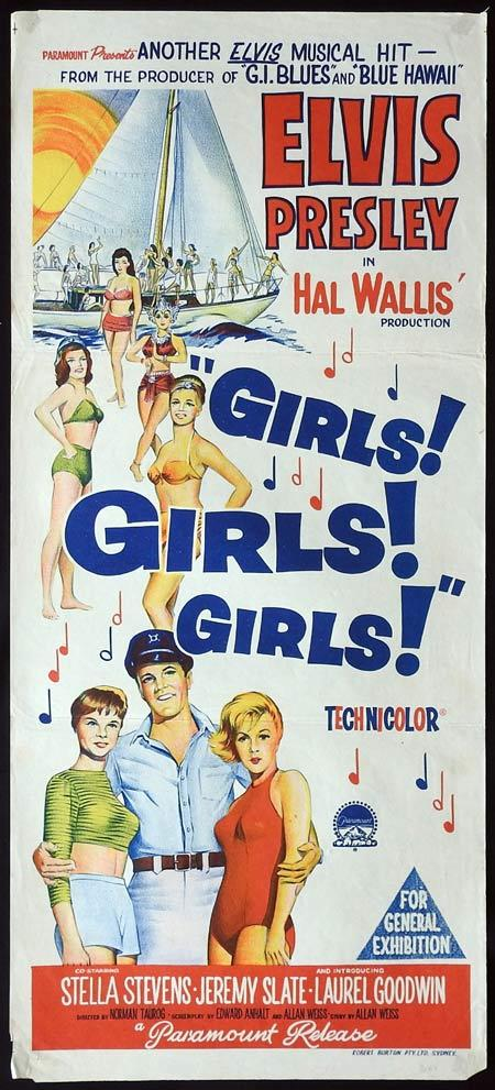 GIRLS GIRLS GIRLS Original daybill Movie Poster Elvis Presley Stella Stevens