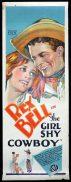 THE GIRL SHY COWBOY Long Daybill Movie poster 1928 Rex Bell