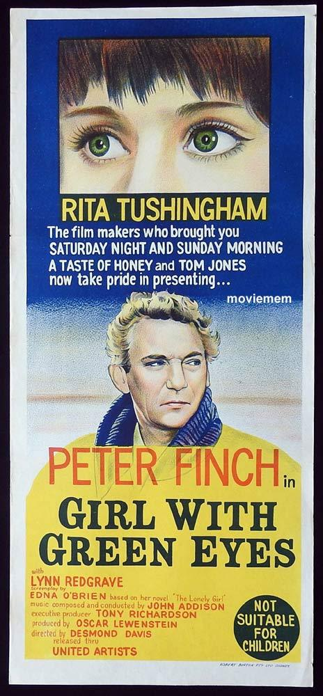 GIRL WITH GREEN EYES Original Daybill Movie Poster Peter Finch Rita Tushingham