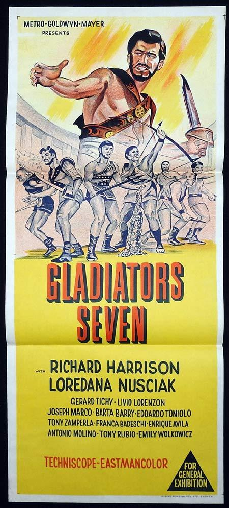 GLADIATORS SEVEN Original Daybill Movie poster Richard Harrison