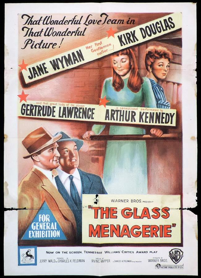 THE GLASS MENAGERIE Original One sheet Movie Poster KIRK DOUGLAS Jane Wyman