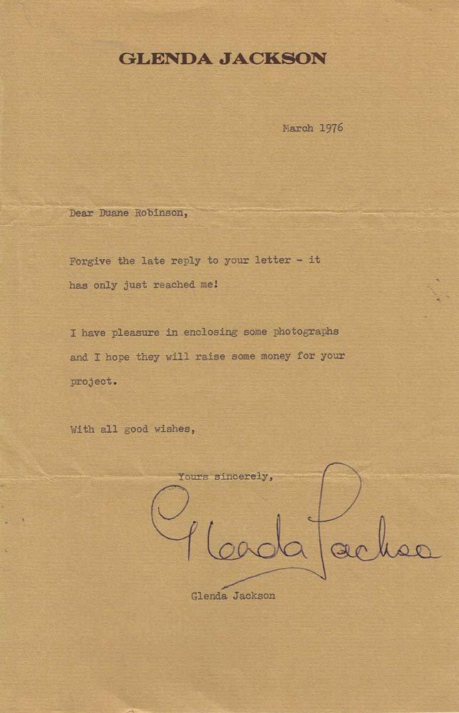 GLENDA JACKSON Autograph Letter